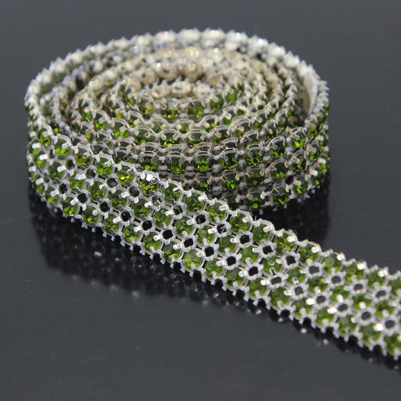 1 Yard 3 Rows Crystal Bling Rhinestone Trim Diamond Ribbon Wedding Party Floral Decorations For Home DIY Craft Supplies