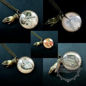 25mm brain,heart,blood,lung round collage cabochon antiqued brass bronze vintage...