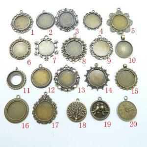 10pcs 25mm antique silver Base Setting Pendant-Trays cabochon Frame cameo Charm ...
