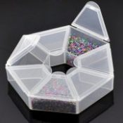 2PCs Small Plastic Storage Box W/7 Compartments Beads Jewelry Storage Box Makeup Organizer Home Saundries Containers 9x9x2cm