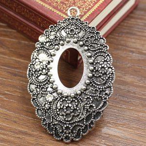 5pcs/lot free shipping Antique Silver/Gold Cameo/Glass/Cabochon Frame bezel Sett...