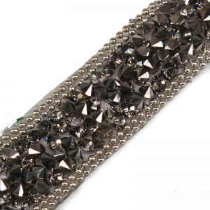 Beaded Rhinestones Trim Chain Iron on Hotfix Crystal Reel Chain Costume Applique Embellishment Sewing Supplies 5yard/T1137