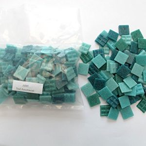 Hakatai Vitreous Glass Mosaic Tile 1/2 lb Teal Assortment AB 05 – 3/4″ Tile