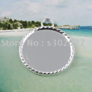 FREE SHIPPING 50Pcs 1″ Silver plated Cabochon Settings Pendant Trays glue on bail picture frame Round Charms A13745SP