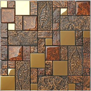 Vintage Brown Resin Stainless steel metal Glass blends mosaic wall tiles,Bathroom kitchen Fireplace wall,Rustic Art Tile Design – LSRN11 (PACK OF 11 SHEETS)