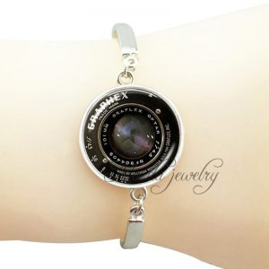 Fashion jewelry camera pendant charms camera lens metal bangle jewelry glass cab...