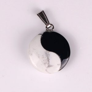 Latest Design Natural Stone Onyx and Fortune Chinese Ying Yang Charms Bead Penda...