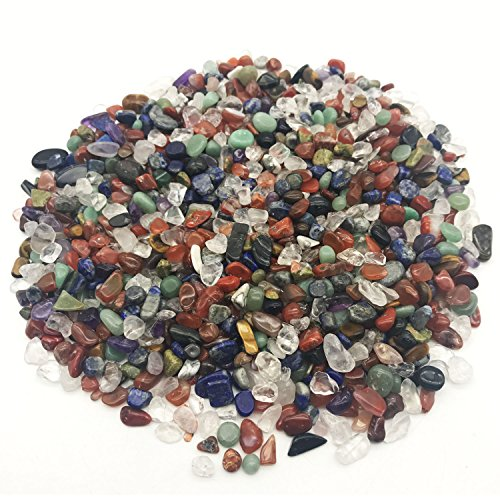 MOSOAO 1 lb Natural Mixed Tumbled Gemstones Healing Reiki Crystal Jewelry Making Home Decoration