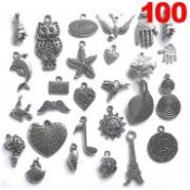 100 Piece Silver Pewter Color Charms Pendants Mega Mix DIY for Jewelry Making and Crafting Necklace Accessories