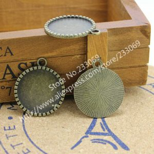 Free shipping pcs/lot Alloy Cameo Round Cabochon Settings 25mm Antique Silver Ph...