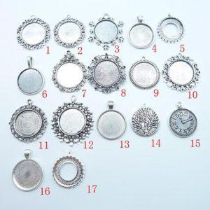 10pcs 25mm antique silver Base Setting Pendant-Trays cabochon Frame cameo Charm,...