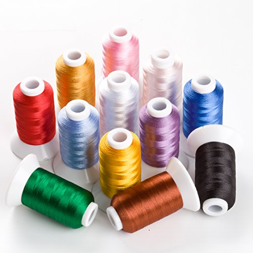 Sinbel Polyester Embroidery Thread 12 Colors 550 Yards Per Spool For Brother Babylock Janome Singer Pfaff Husqvaran Bernina Machines