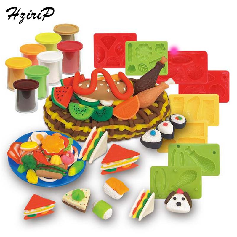HziriP 23Pcs/set New Children Modeling Clay Toy Set Food Colorful Plasticine Clay Suit Molds slime Tool Set Kit For Kids Gifts