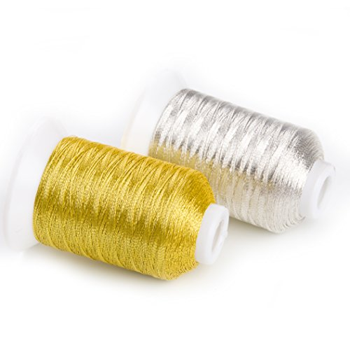 Sinbel Metallic Embroidery Thread MS Type 2 Spools Set Gold And Silver Color 500 Meters/550 Yards Per Spool.