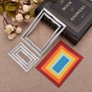 DIY Quadrilateral Border Metal Cutting Dies Set for Greeting Card Cover Photo Al...